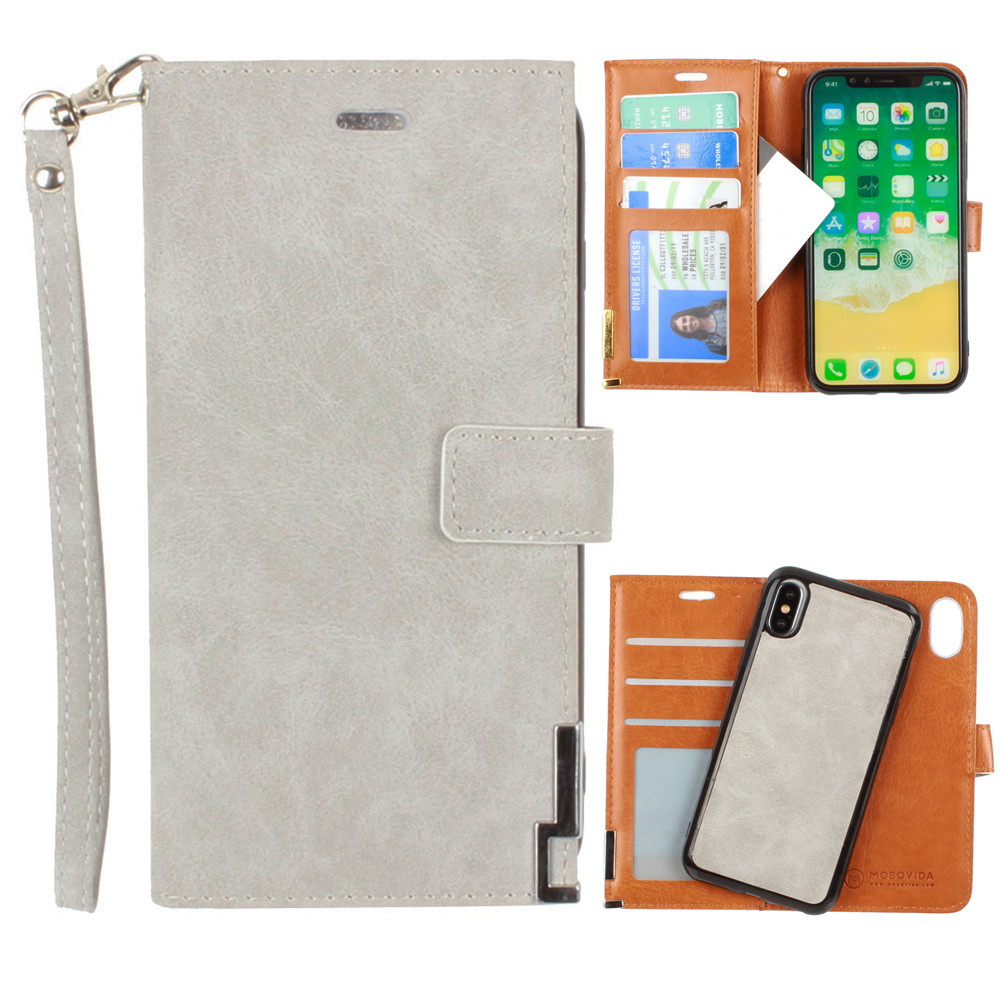 Apple iPhone X -  Ultrasuede metal trimmed wallet with removable slim case and  wristlet, Gray