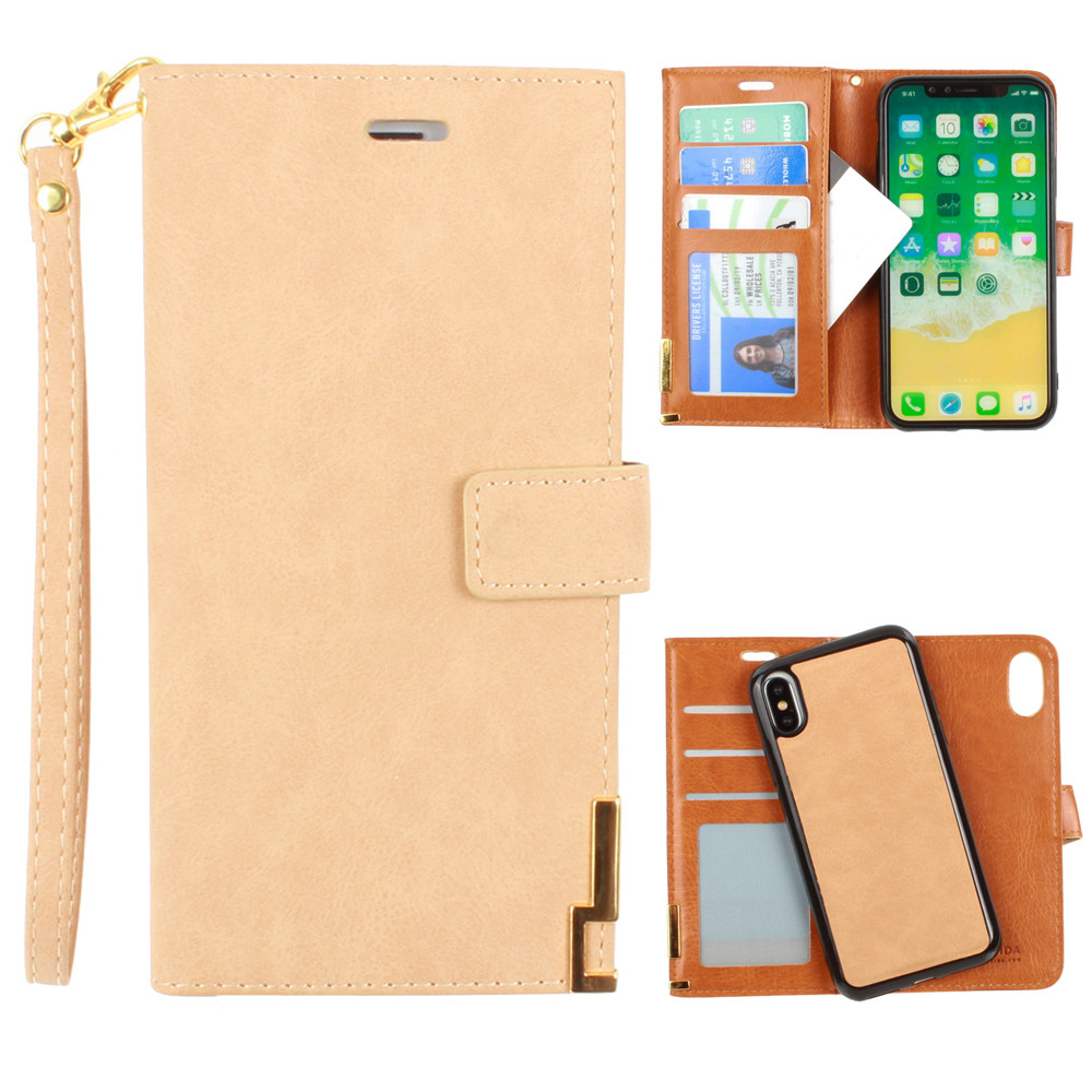 Apple iPhone X -  Ultrasuede metal trimmed wallet with removable slim case and  wristlet, Tan