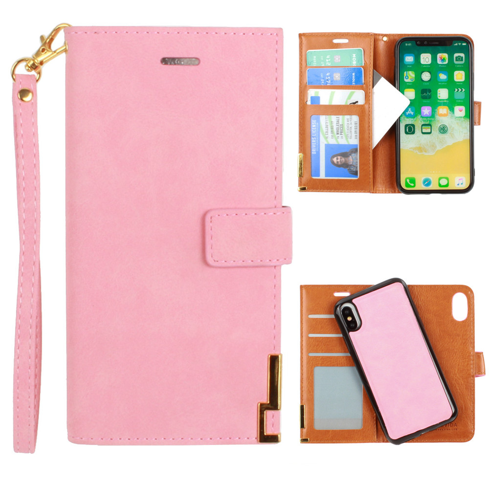 Apple iPhone X -  Ultrasuede metal trimmed wallet with removable slim case and  wristlet, Pink