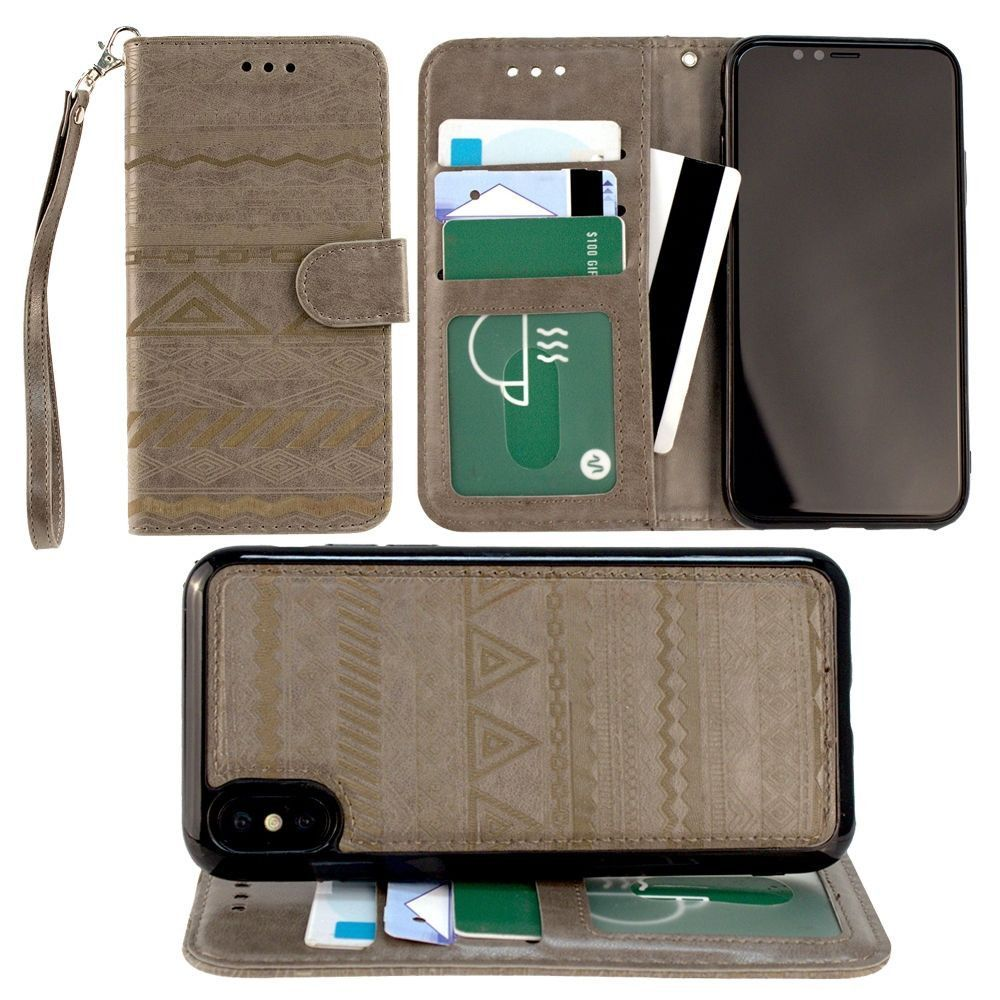 Apple iPhone X -  Aztec tribal laser-cut wallet with detachable matching slim case and wristlet, Gray
