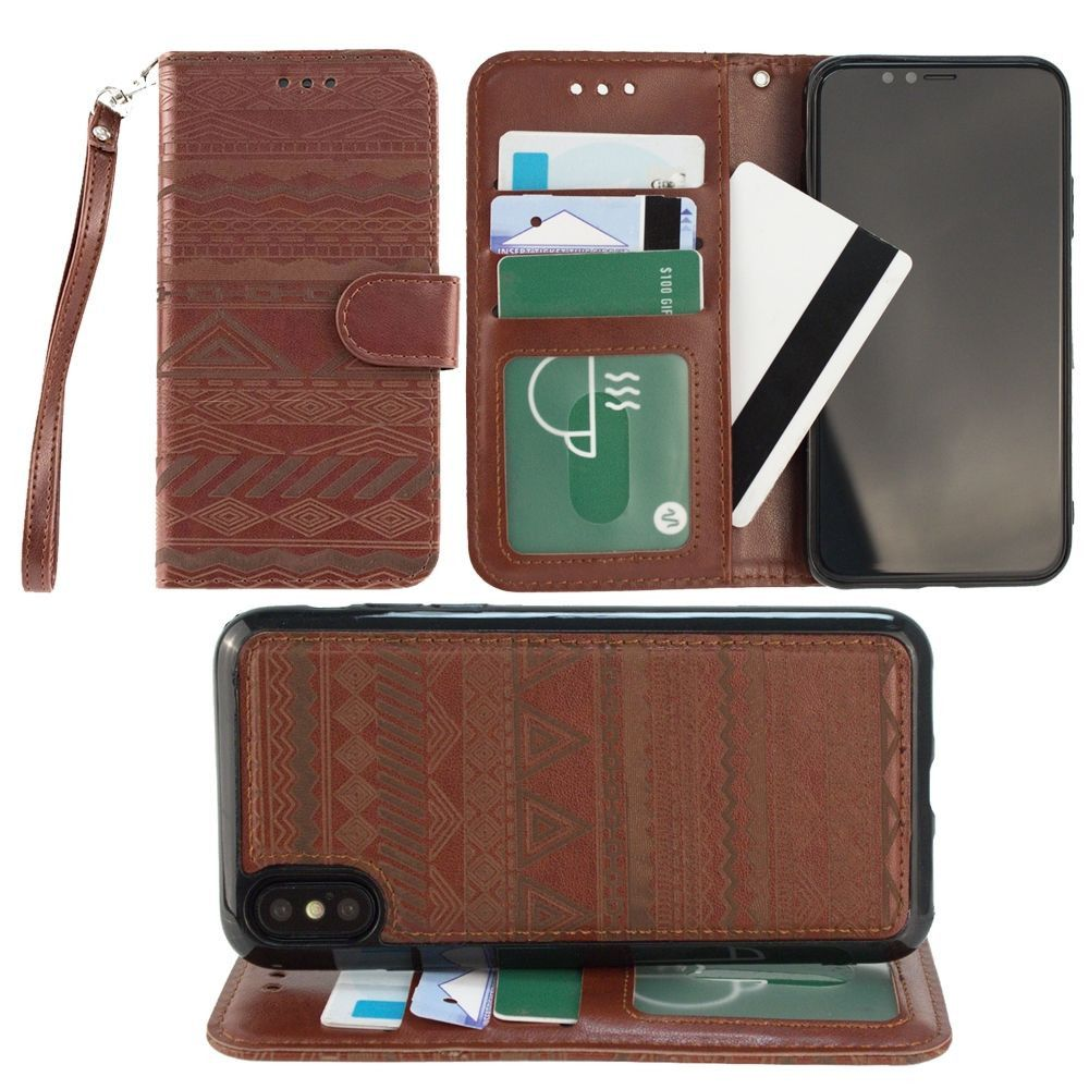 Apple iPhone X -  Aztec tribal laser-cut wallet with detachable matching slim case and wristlet, Maroon