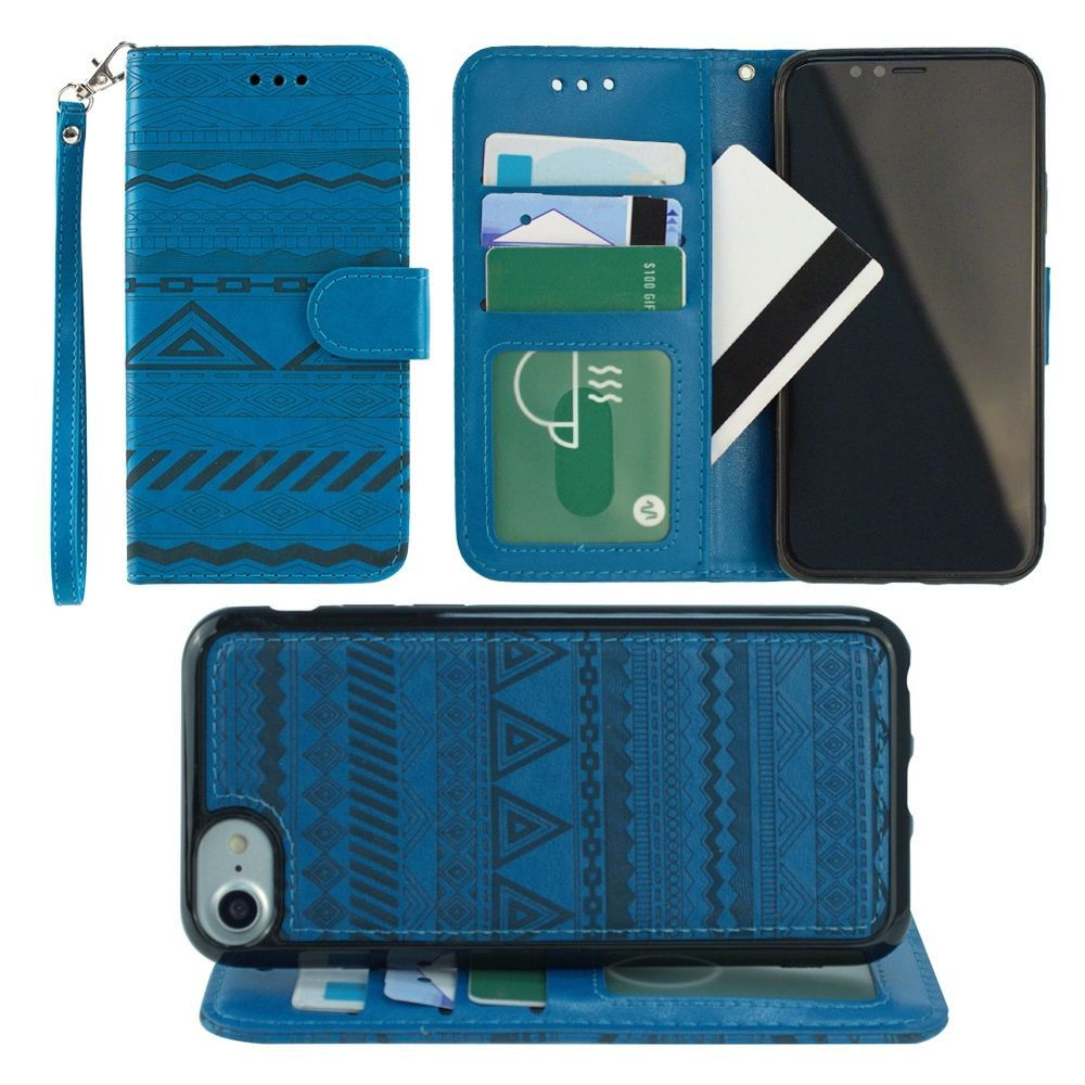 Apple iPhone X -  Aztec tribal laser-cut wallet with detachable matching slim case and wristlet, Teal Blue
