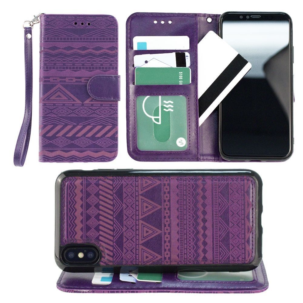Apple iPhone X -  Aztec tribal laser-cut wallet with detachable matching slim case and wristlet, Purple