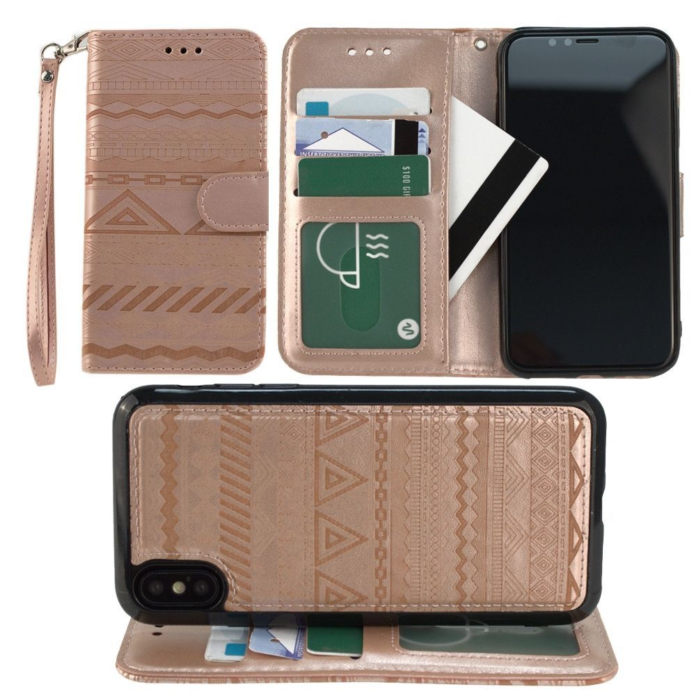 Apple iPhone X -  Aztec tribal laser-cut wallet with detachable matching slim case and wristlet, Rose Gold