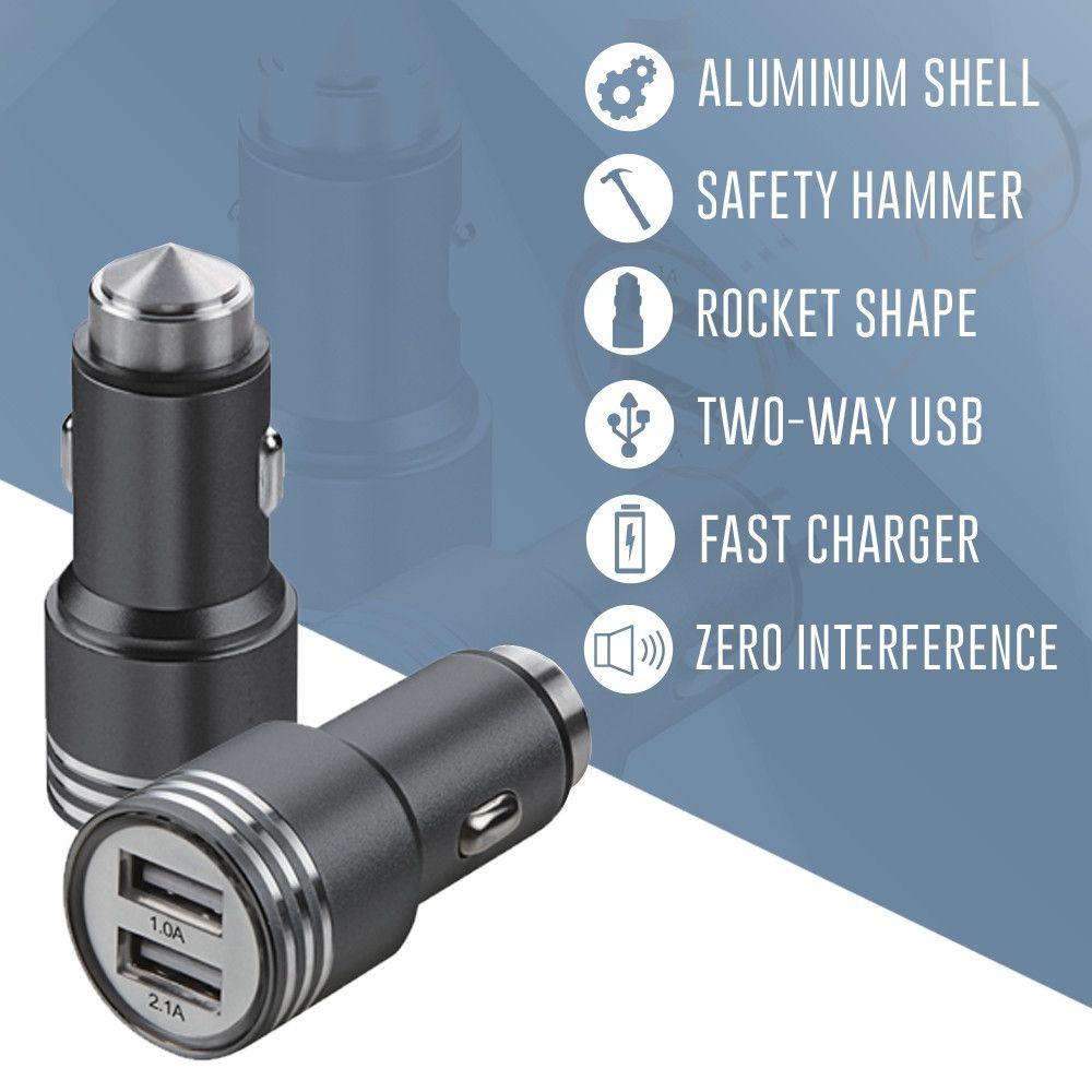 Apple iPhone 7 Plus -  Dual USB Port Fast Charging Vehicle Power Adapter (3.1 Amp, 3100mAh), Black