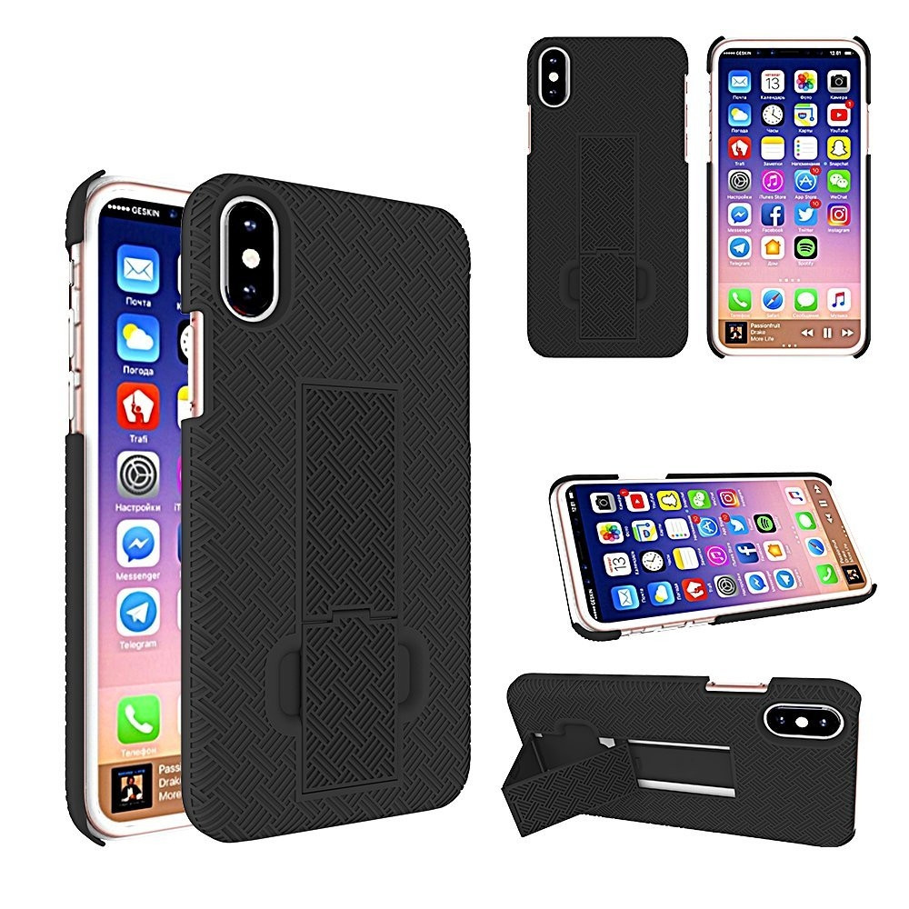 Apple iPhone X - 2-in-1 Slim Fit Hard Plastic Case & Holster Combo, Black