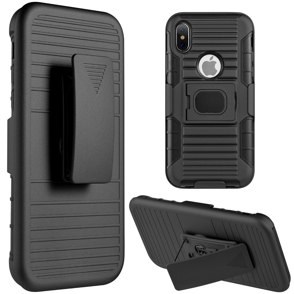 Apple iPhone X - My.Carbon 3-in-1 Rugged Case with Holster and Magnetic Function, Black