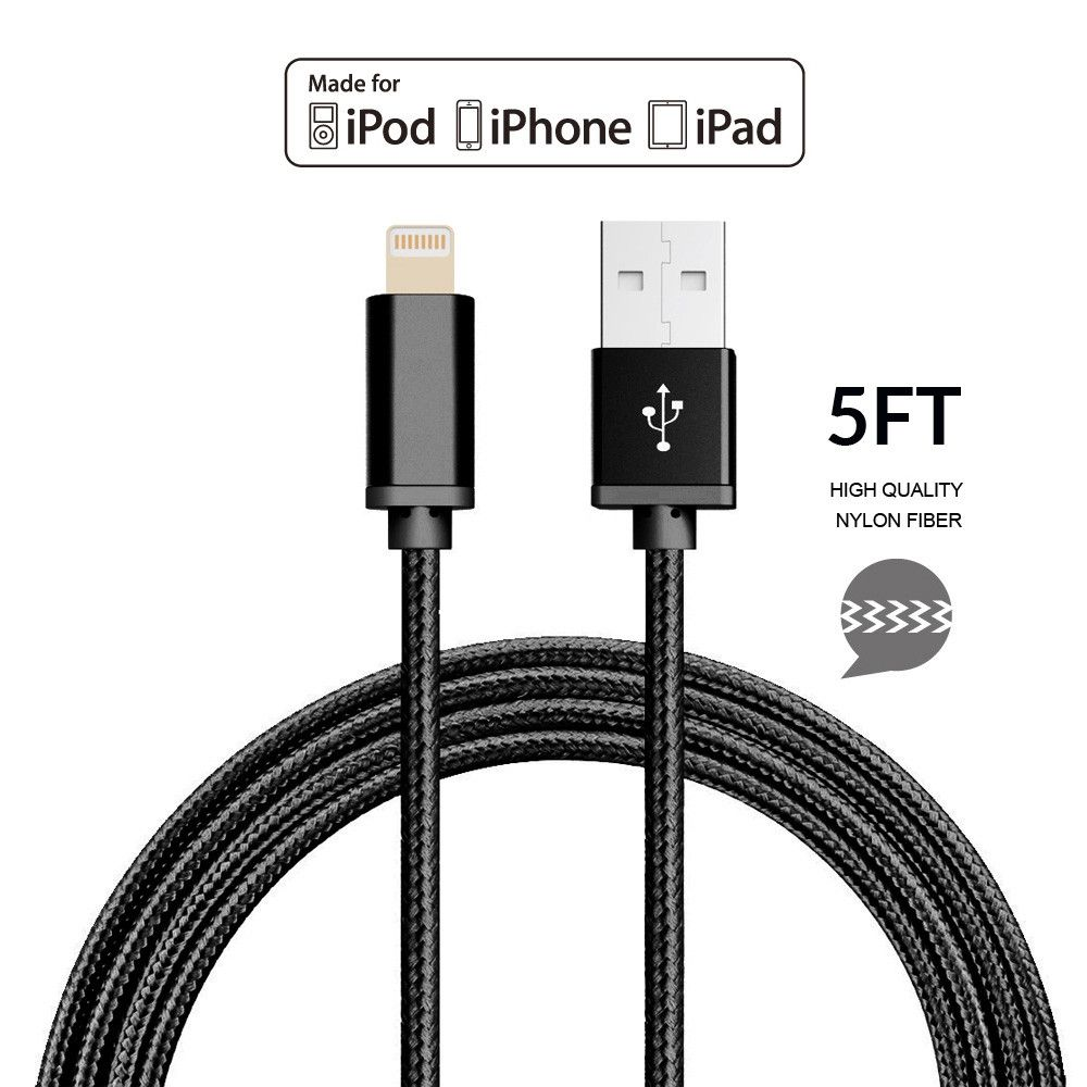 Apple iPhone 7 Plus -   Apple MFI Certified 8-Pin Lightning to USB Sync and Charge Heavy Duty Nylon Cable 5ft., Black