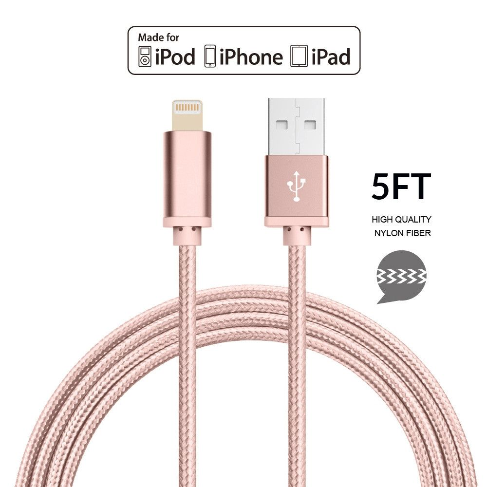 Apple iPhone 7 Plus -   Apple MFI Certified 8-Pin Lightning to USB Sync and Charge Heavy Duty Nylon Cable 5ft., Rose Gold