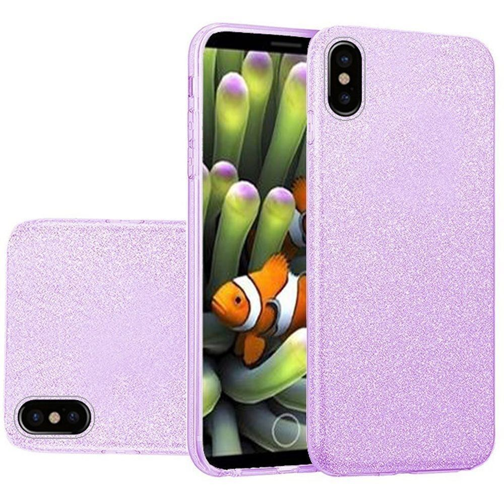 Apple iPhone X -  TPU Glitter Case, Purple