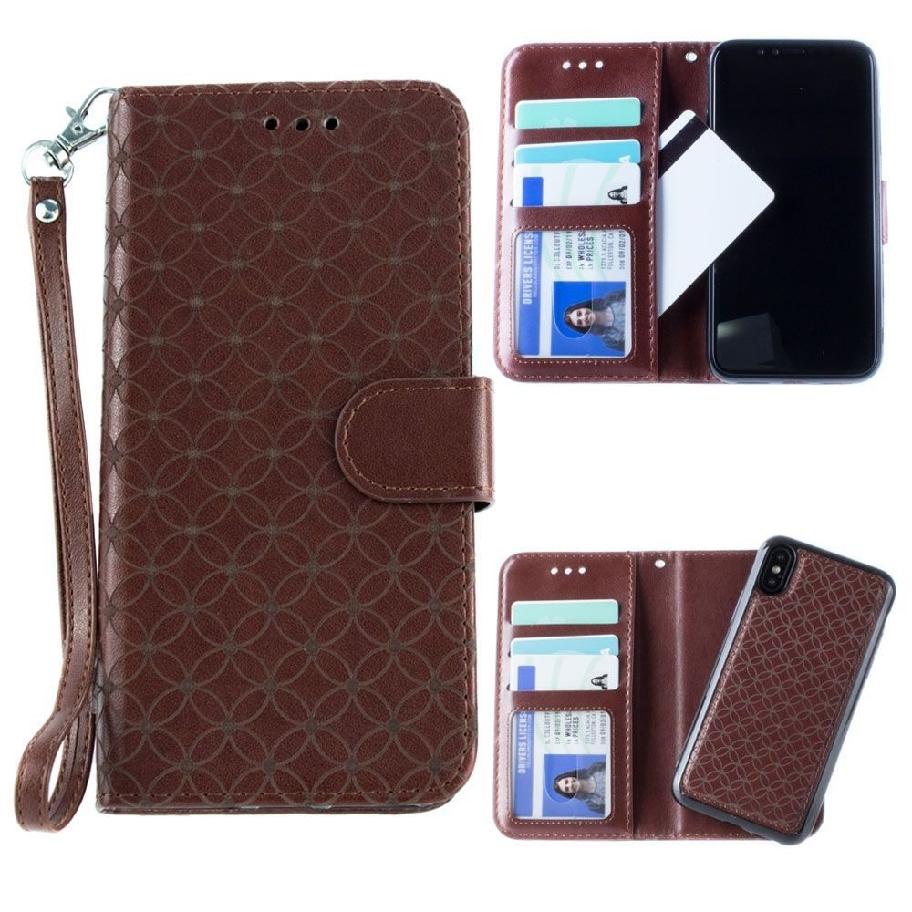 Apple iPhone X -  Diamond pattern laser-cut wallet with detachable matching slim case and wristlet, Dark Brown