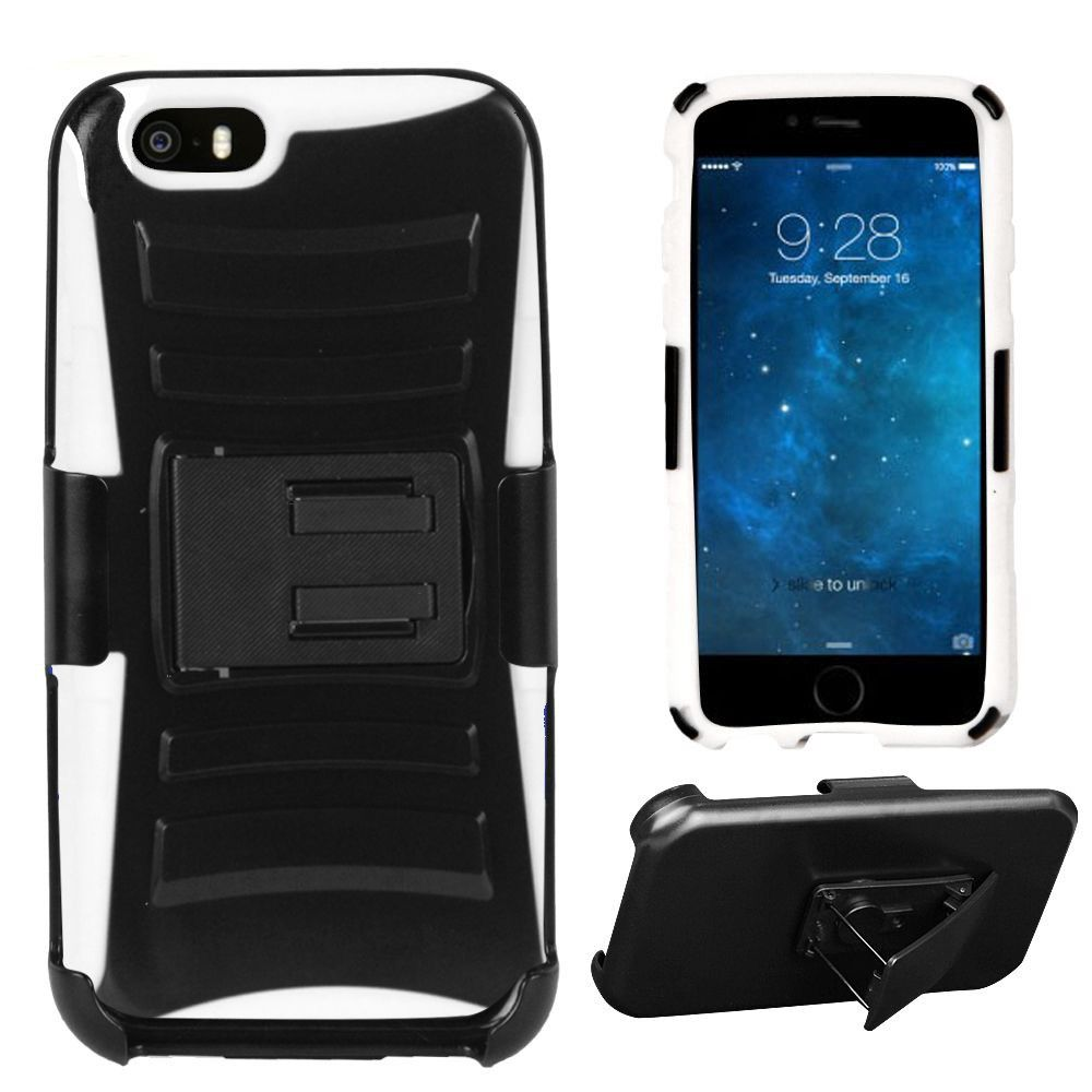 Apple iPhone 6/6s - Armor Kombo Hybrid Case with Belt Clip Holster, Black/White