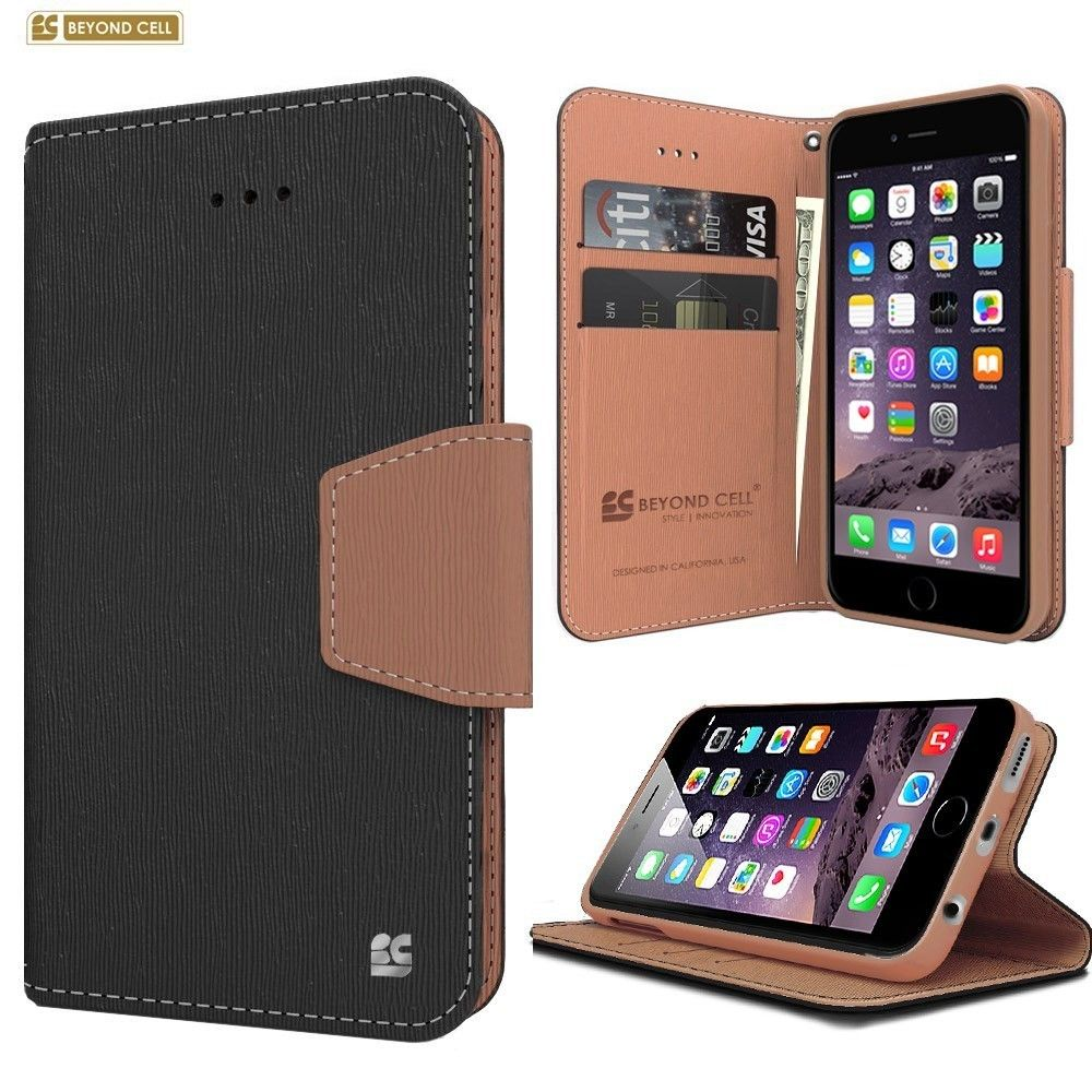 Apple iPhone 6/6s - Infolio Leather Folding Wallet Phone Case, Black/Brown