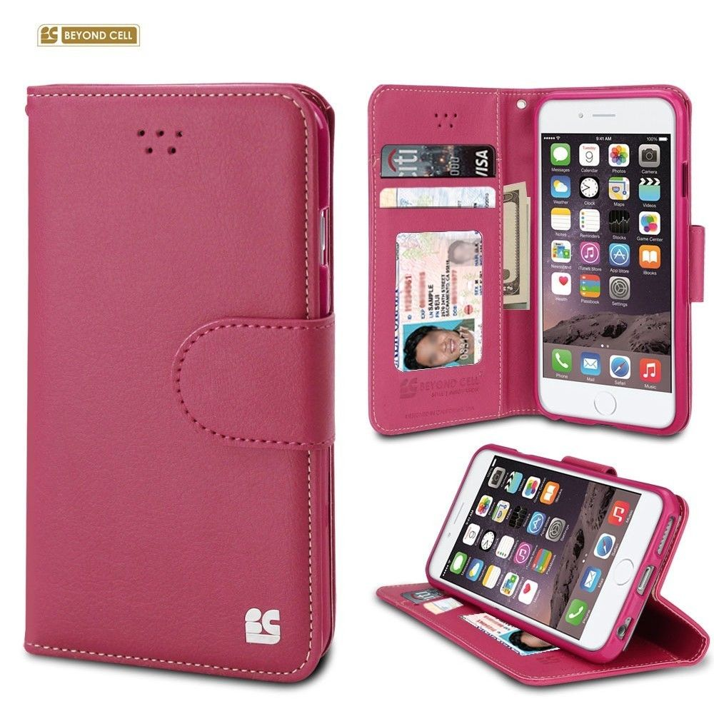 Apple iPhone 6/6s - Infolio Leather Folding Wallet Phone Case, Hot Pink