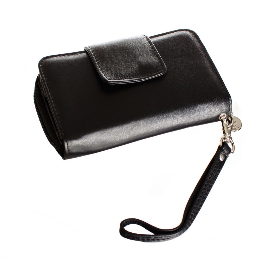 Apple iPhone 6 -  Limited Edition Genuine Leather Wristlet Clutch Wallet with Phone Holder, Black