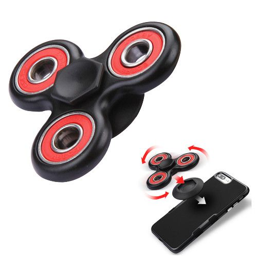 Apple iPhone 7 Plus -  Fidget Toy Spinner with Adhesive and Holder, Black/Red