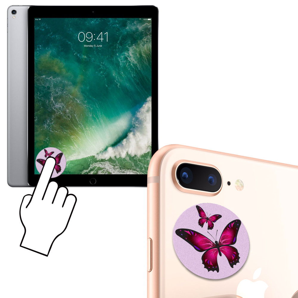 Apple iPhone 7 Plus -  Twin Butterflies Design Re-usable Stick-on Screen Cleaner, Pink