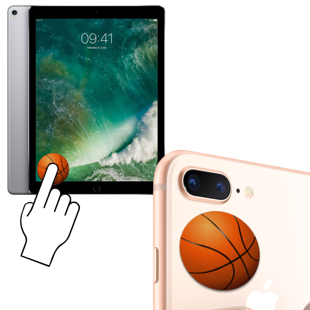 Apple iPhone 7 Plus -  Basketball Design Re-usable Stick-on Screen Cleaner, Orange