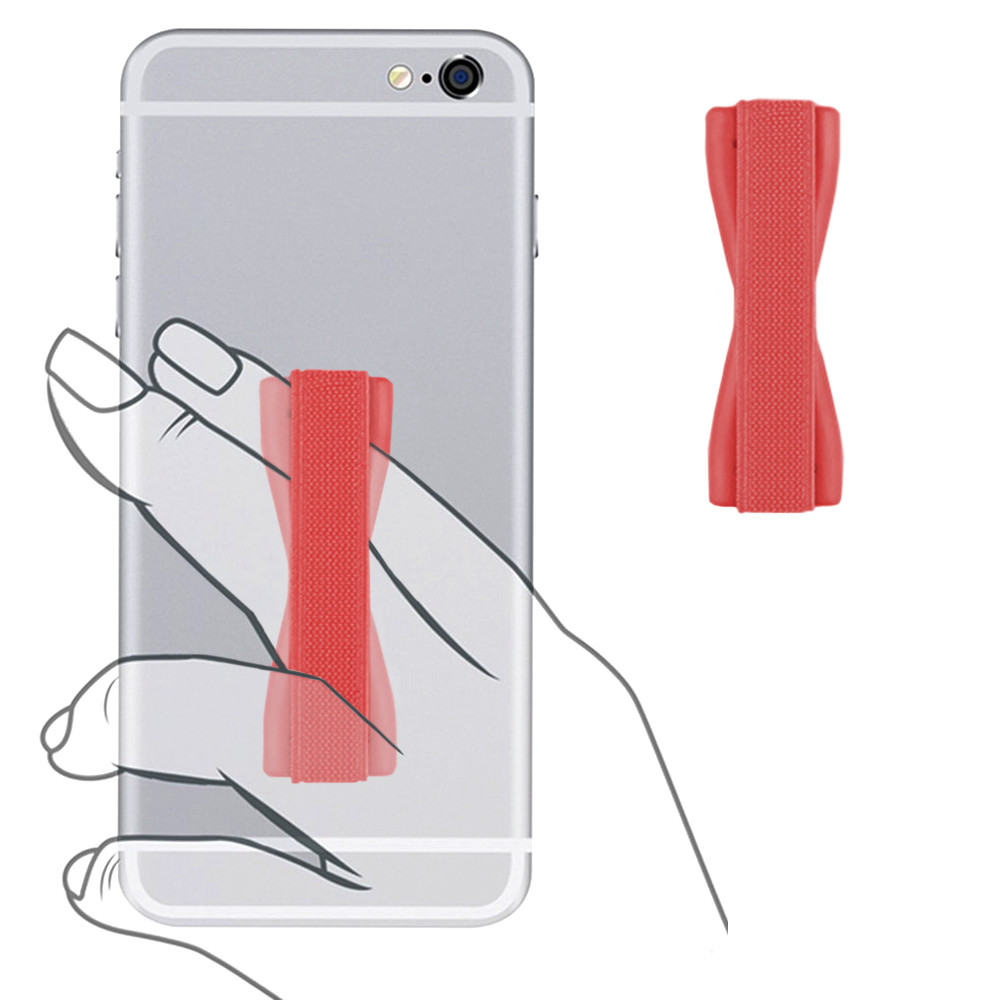 Apple iPhone 7 Plus -  Slim Elastic Phone Grip Sticky Attachment, Red