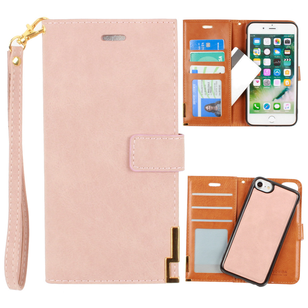 Apple iPhone 6 -  Ultrasuede metal trimmed wallet with removable slim case and  wristlet, Taupe