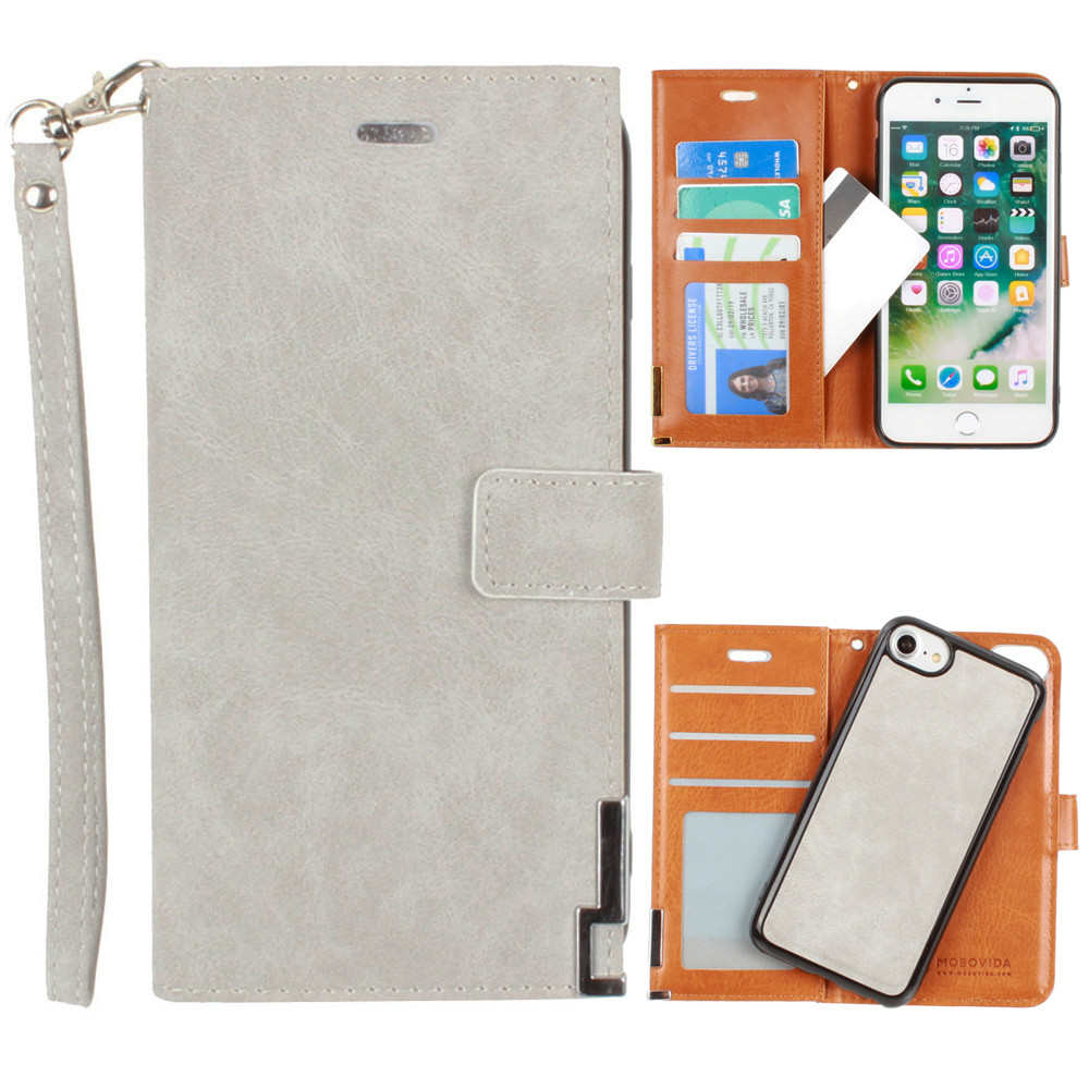 Apple iPhone 6 -  Ultrasuede metal trimmed wallet with removable slim case and  wristlet, Gray