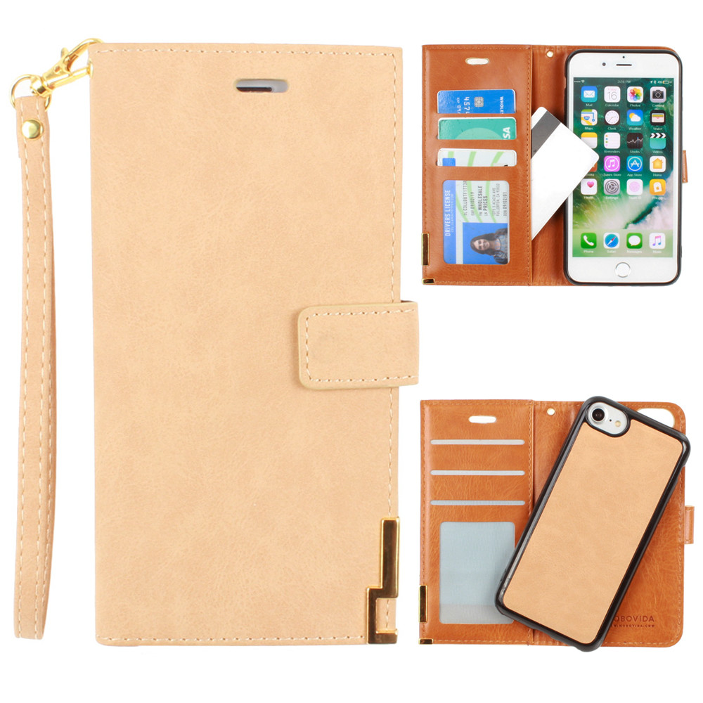 Apple iPhone 6 -  Ultrasuede metal trimmed wallet with removable slim case and  wristlet, Tan