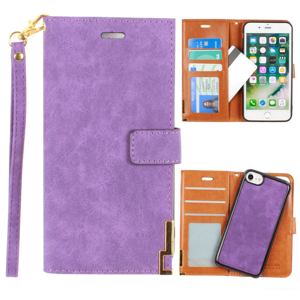 Apple iPhone 6 -  Ultrasuede metal trimmed wallet with removable slim case and  wristlet, Purple