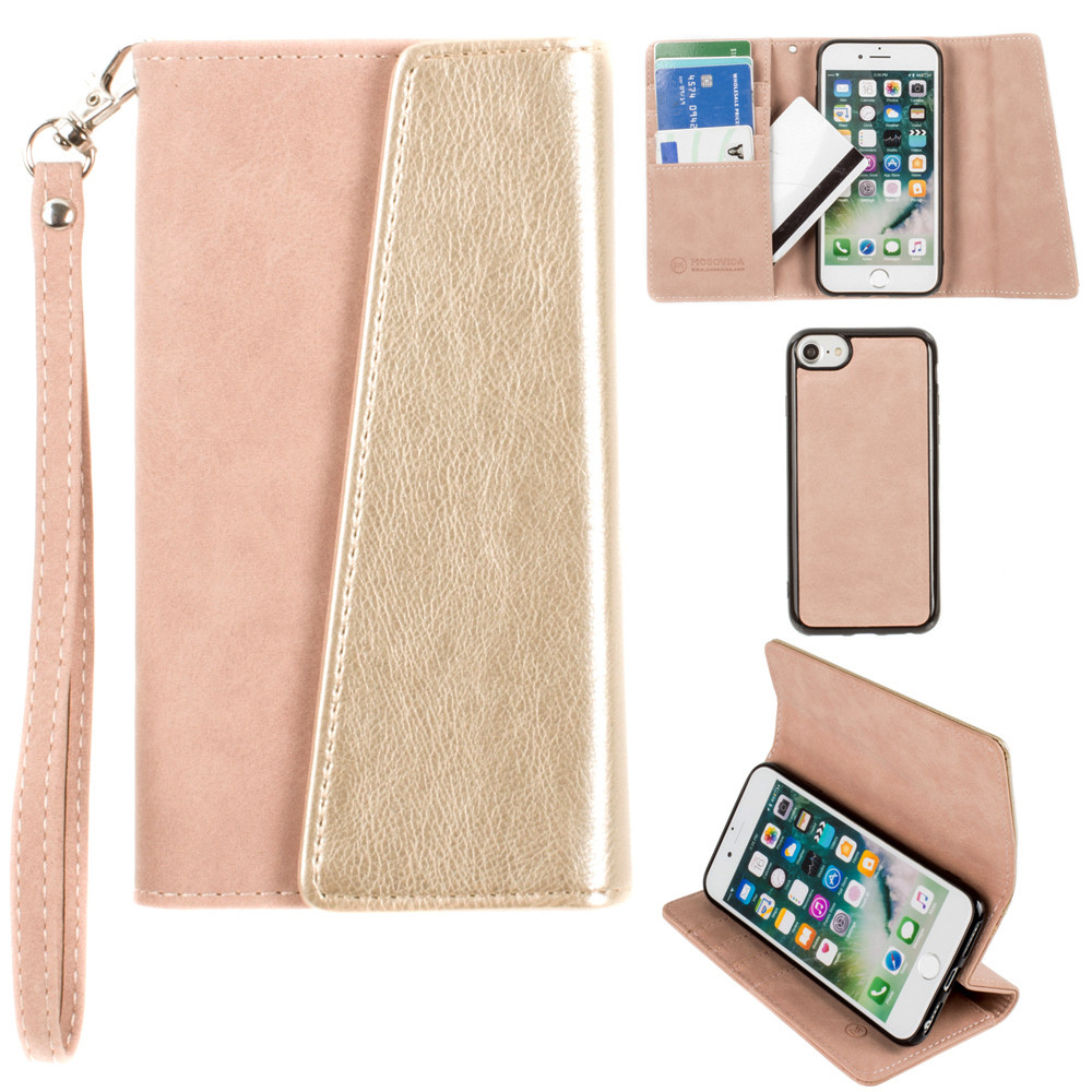 Apple iPhone 6 -  UltraSuede Metallic Color Block Flap Wallet with Matching detachable Case and strap, Dusty Pink/Gold