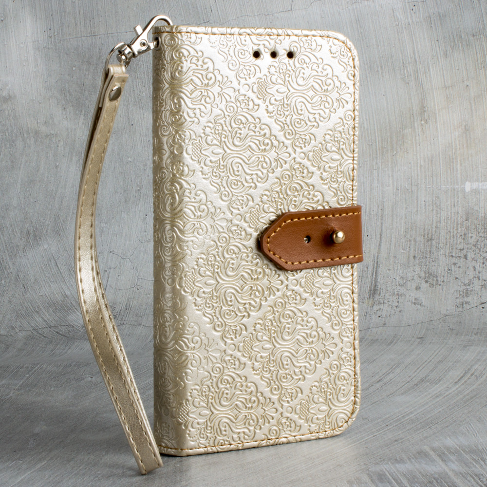 Apple iPhone 6 -  Vintage Floral wallet with detachable matching slim case and wristlet, Gold