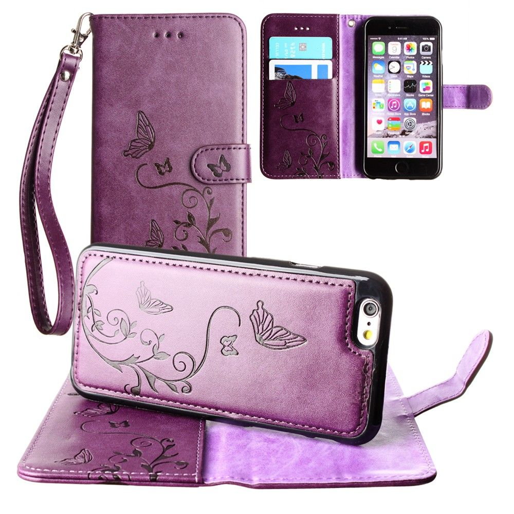 Apple iPhone 6 -  Embossed Butterfly Design Wallet Case with Detachable Matching Case and Wristlet, Purple