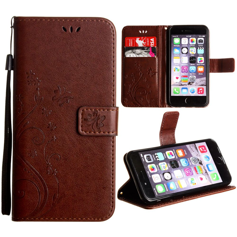 Apple iPhone 6 -  Embossed Butterfly Design Leather Folding Wallet Case with Wristlet, Coffee
