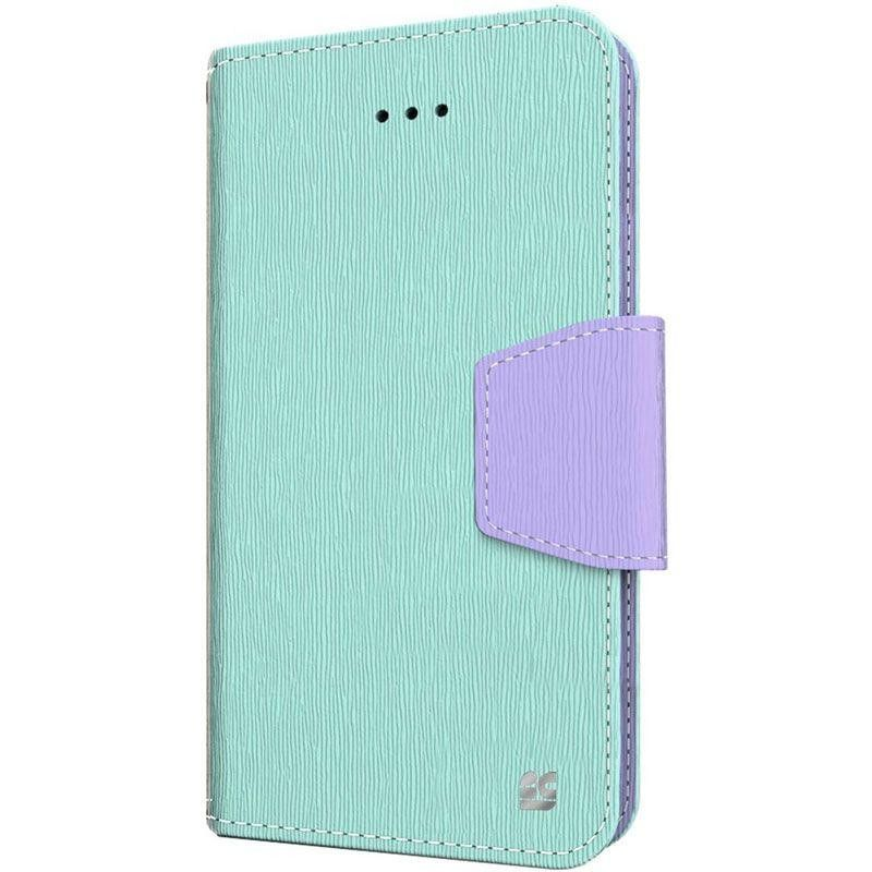 Apple iPhone 6/6s - Leather Folding Wallet Case, Mint/Purple