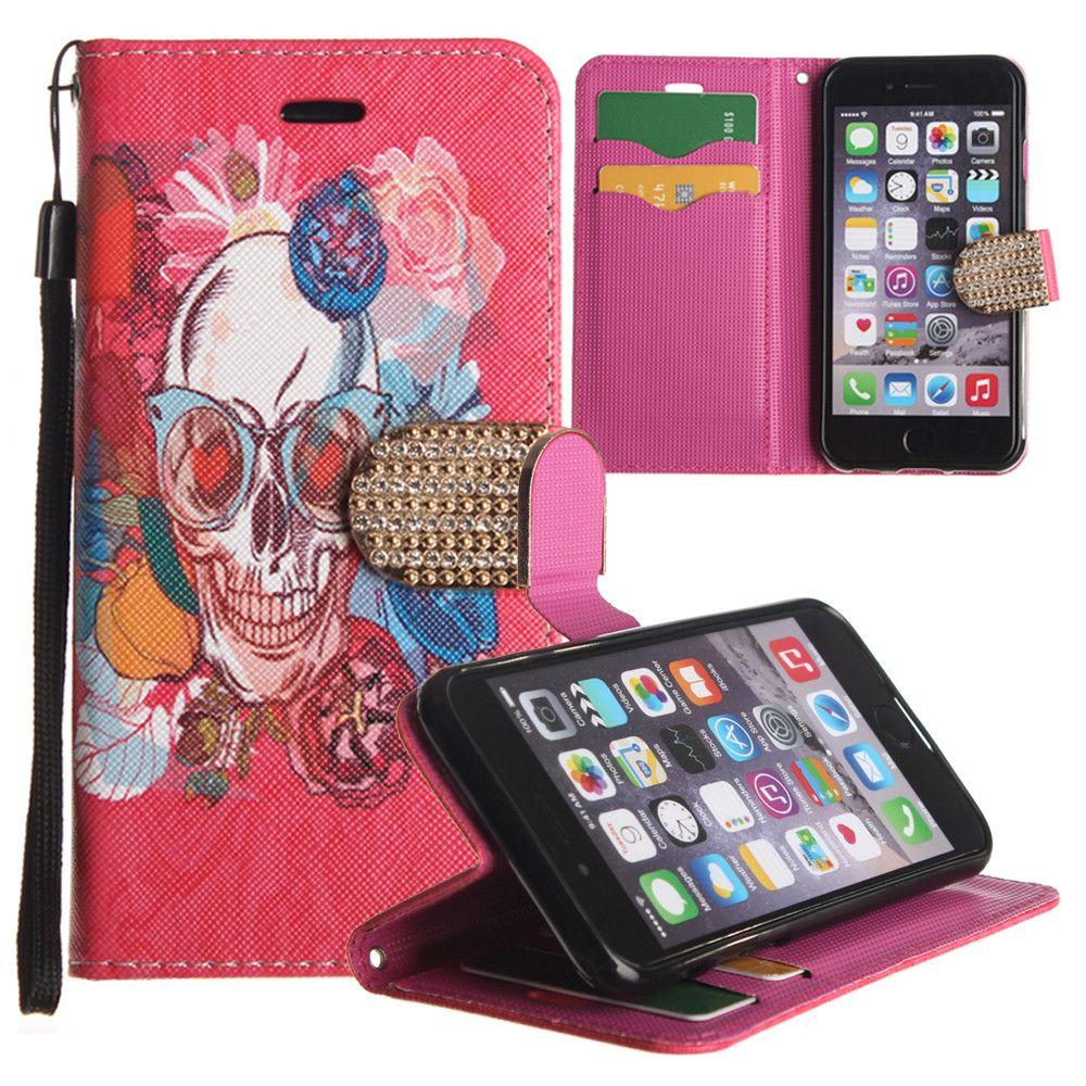 Apple iPhone 6/6s - Fashion hip Skull Shimmering Folding Phone Wallet, Multi-Color