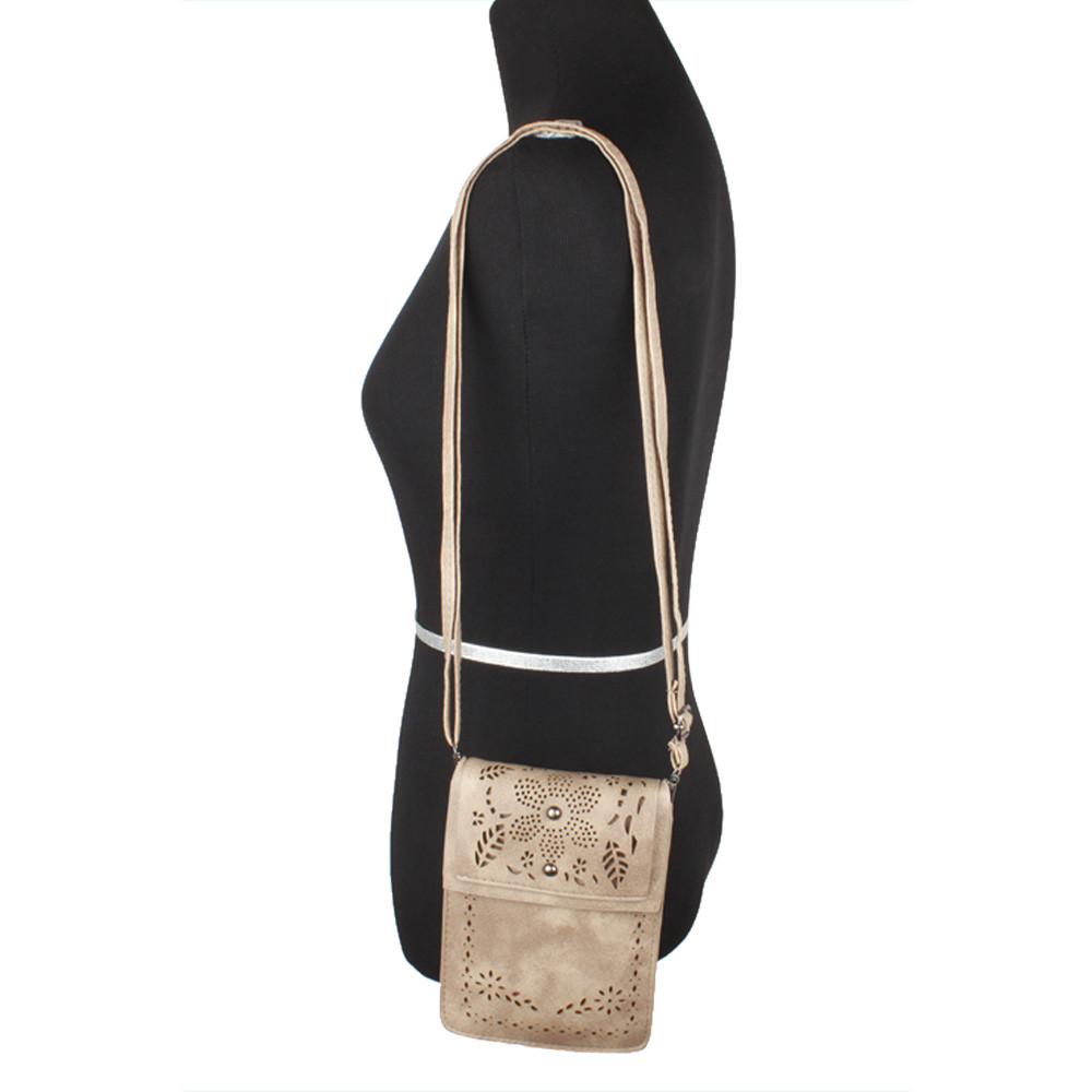 Apple iPhone 6 -  Vegan Suede Laser Cut Foldover Crossbody with Adjustable Strap, Cocoa Brown
