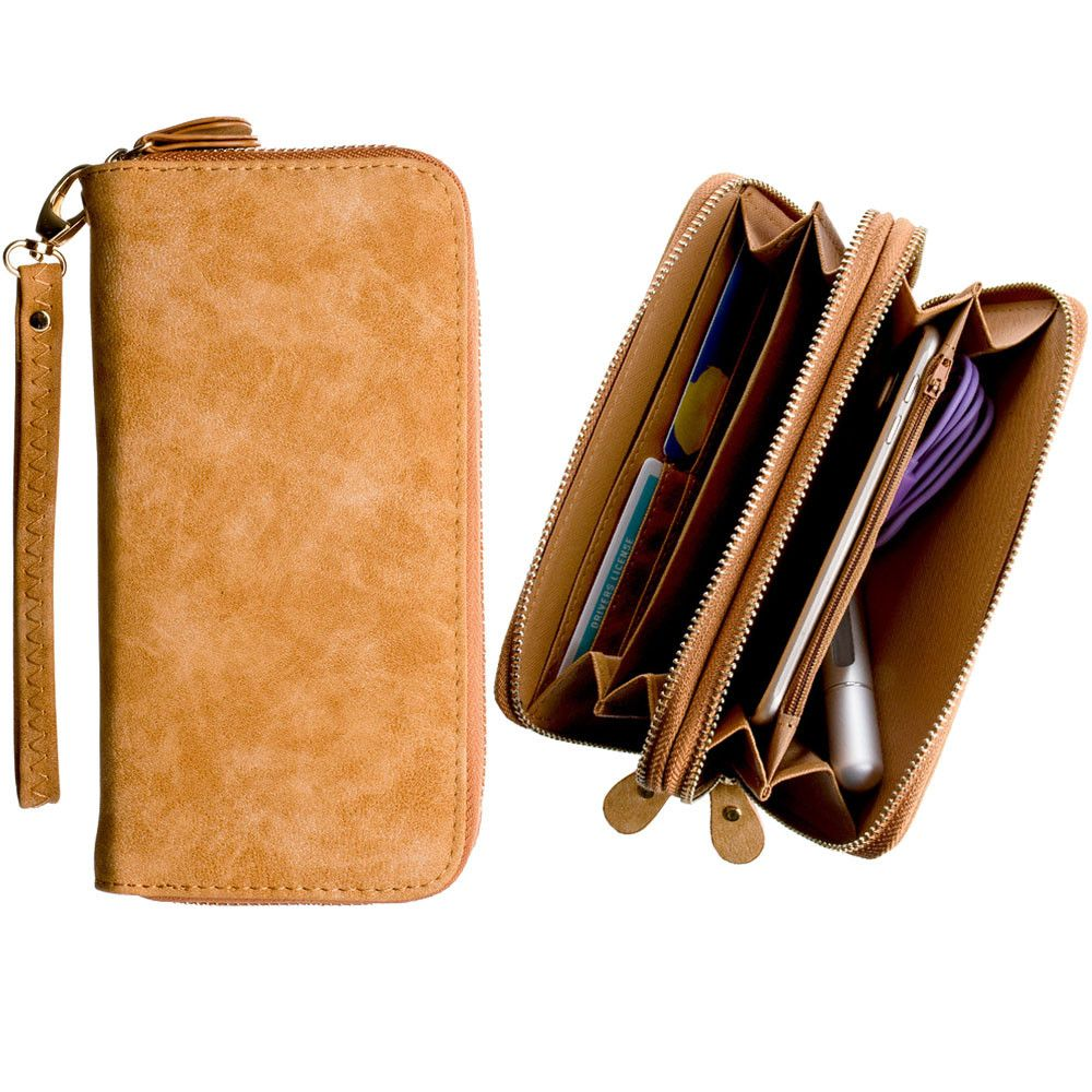 Apple iPhone 6 -  Soft-touch Suede Double Zipper Clutch, Brown