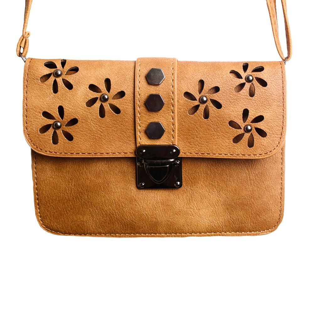 Apple iPhone 6 -  Laser Cut Studded Flower Design Crossbody Clutch, Brown