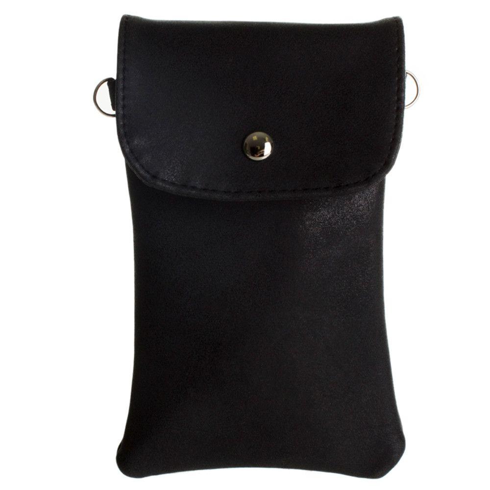 Apple iPhone 6 -   Leather Matte Crossbody bag with back zipper, Black