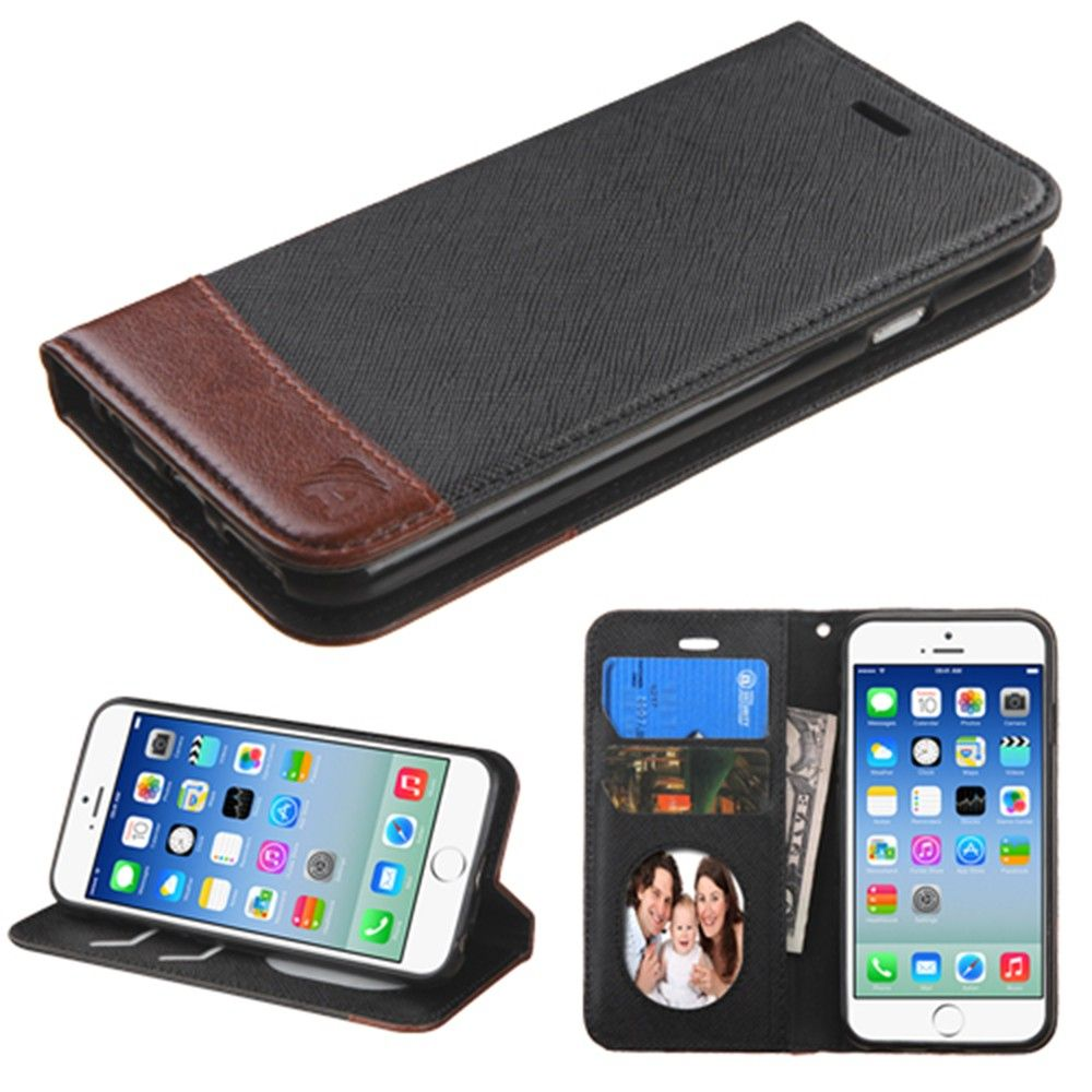 Apple iPhone 6/6s - 2-Tone Leather Folding Wallet Case and Stand, Black/Brown