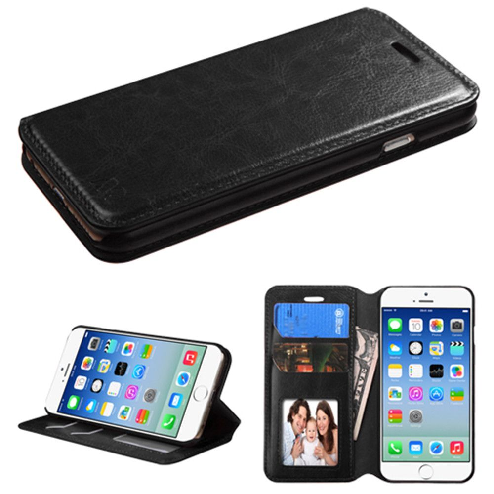 Apple iPhone 6/6s - Bi-Fold Leather Folding Wallet Case and Stand, Black