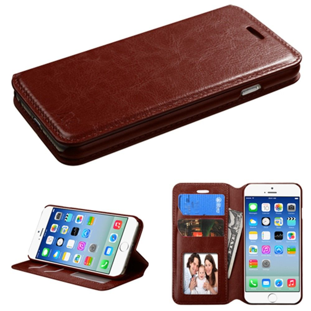 Apple iPhone 6/6s - Bi-Fold Leather Folding Wallet Case and Stand, Brown
