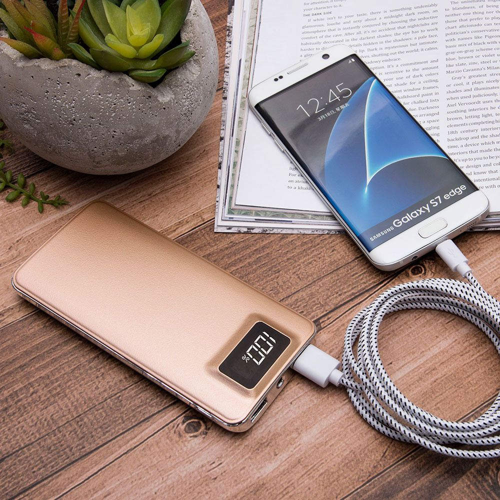 Apple iPhone 6 -  10,000 mAh Slim Portable Battery Charger/Powerbank with 2 USB Ports,LCD Display and Flashlight, Gold