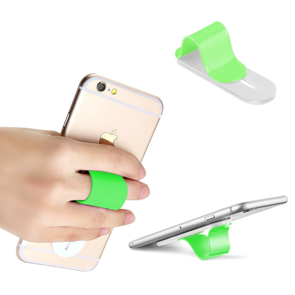 Apple iPhone 6 -  Stick-on Retractable Finger Phone Grip Holder, Green
