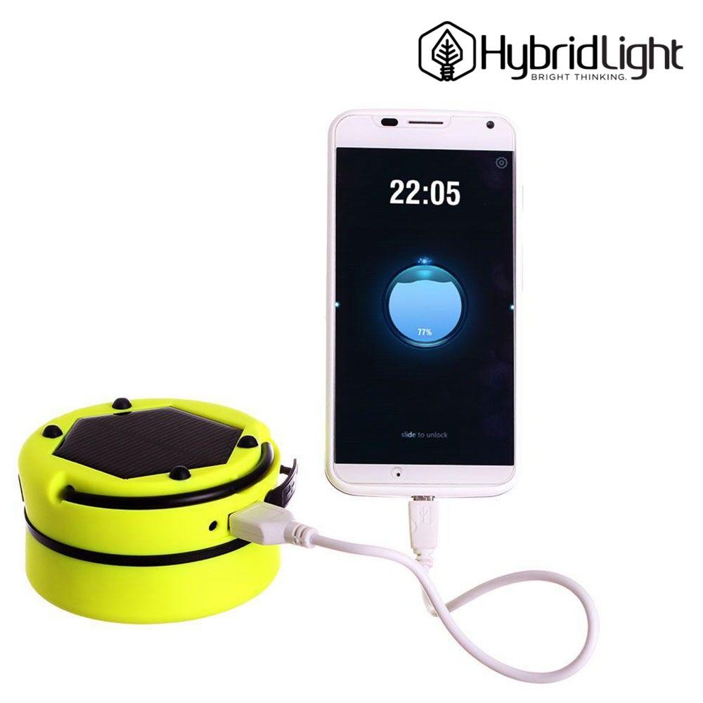 OEM HybridLight 3-in-1 Solar Powered Lantern Flashlight and Portable Charger with USB cable, Yellow