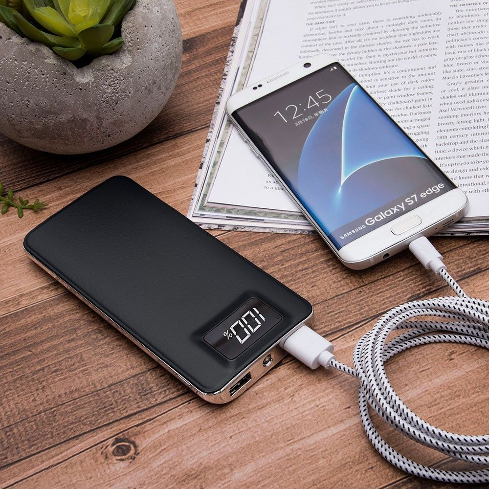 Apple iPhone X -  10,000 mAh Slim Portable Battery Charger/Powerbank with 2 USB Ports,LCD Display and Flashlight, Black