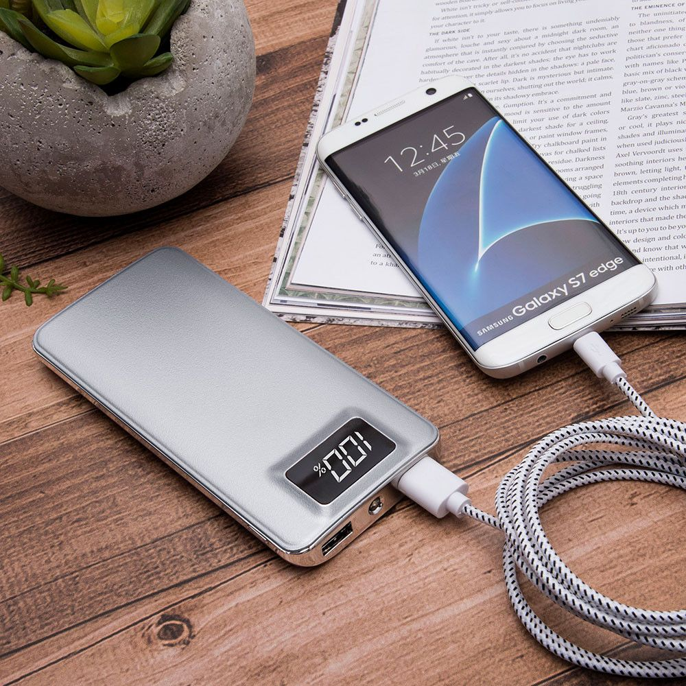 Apple iPhone X -  10,000 mAh Slim Portable Battery Charger/Powerbank with 2 USB Ports, LCD Display and Flashlight, Silver