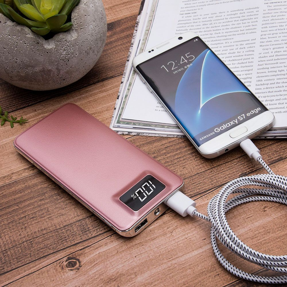 Apple iPhone X -  10,000 mAh Slim Portable Battery Charger/Powerbank with 2 USB Ports, LCD Display and Flashlight, Rose Gold