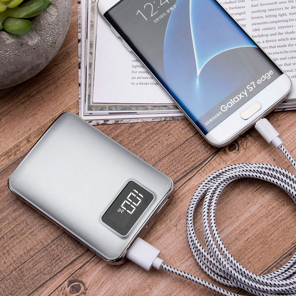 Apple iPhone X -  4,500 mAh Portable Battery Charger/Powerbank with 2 USB Ports, LCD Display and Flashlight, Silver