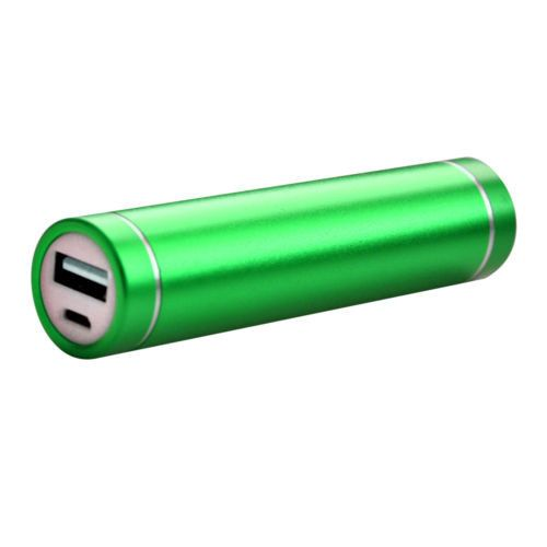 Apple iPhone X -  Universal Metal Cylinder Power Bank/Portable Phone Charger (2600 mAh) with cable, Green