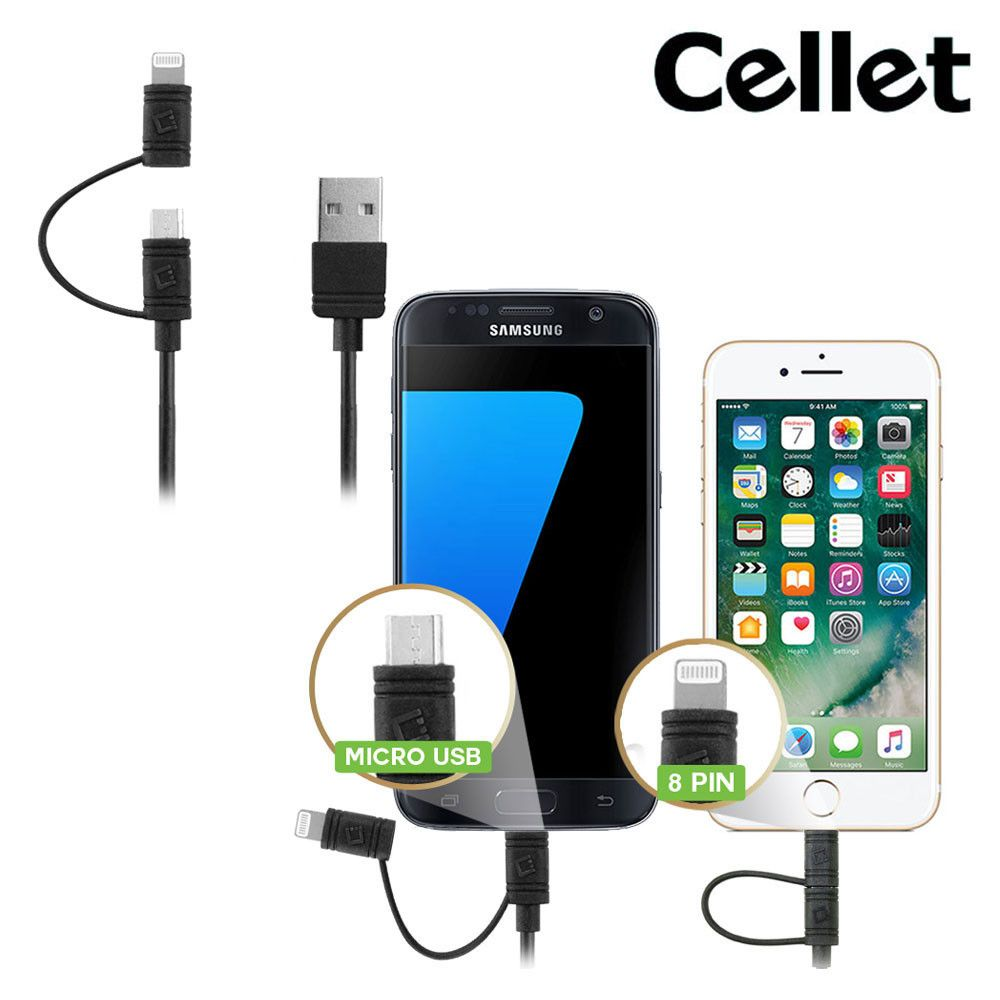 Cellet 3FT Certified 2-in-1 Micro USB & MFI Certified Lightning 8-Pin to USB Sync and Charge Cable, Black