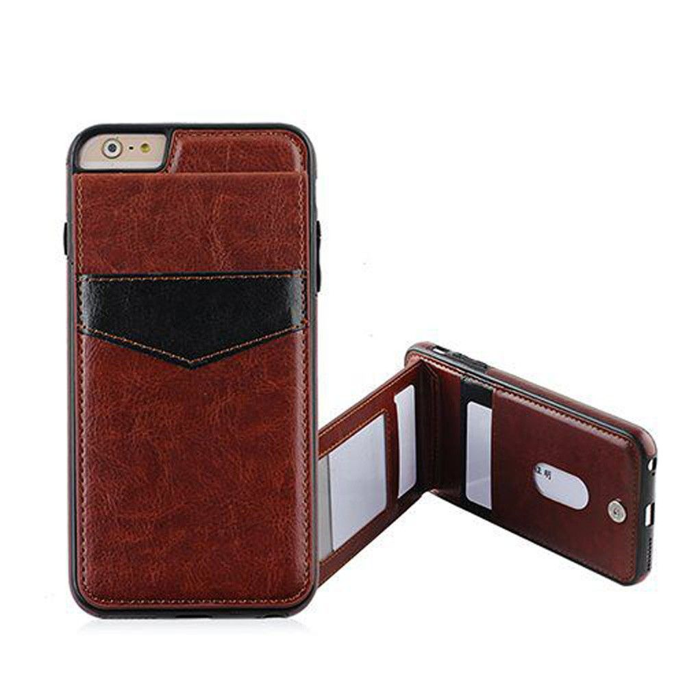 Apple iPhone 6 Plus -  Leather Case with Back Flip Card Slot and Stand, Brown/Black